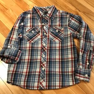 JACK red/blue plaid button front shirt, boys small